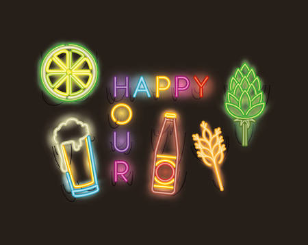 happy hour with bar set icons fonts neon lights vector illustration design