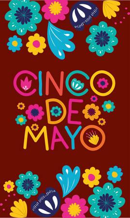 cinco de mayo card with floral frame vector illustration design