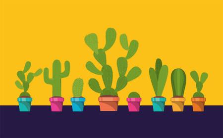 set of cactus in pot vector illustration design Ilustração