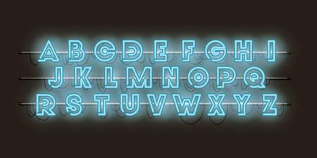 alphabet fonts neon lights vector illustration design Vector Illustration