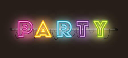 party fonts neon lights vector illustration design