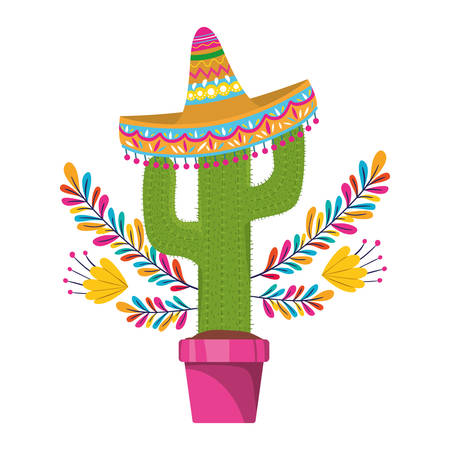 cactus with pot and mexican hat icon vector illustration design