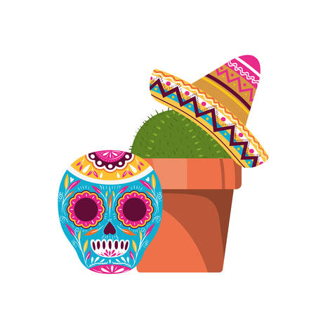 cactus and skull with mexican hat icon vector illustration design Ilustração