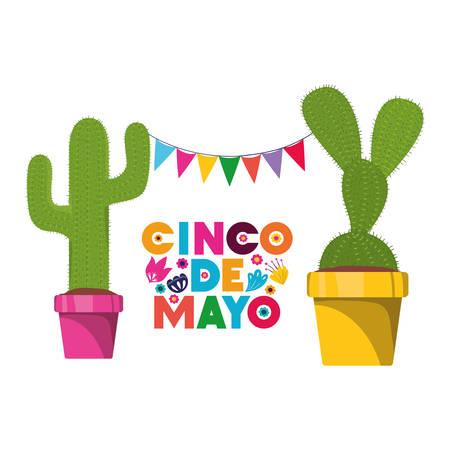 cinco de mayo label with cactus isolated icon vector illustration design