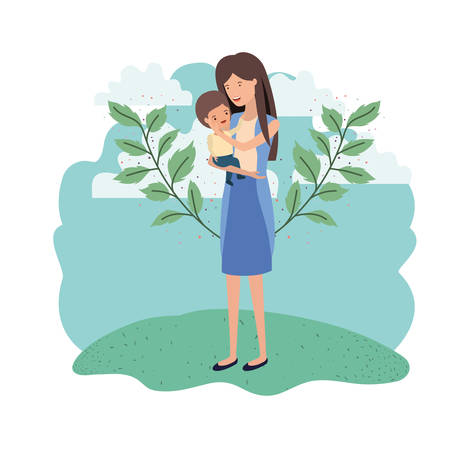 woman with baby in landscape avatar character vector illustration design