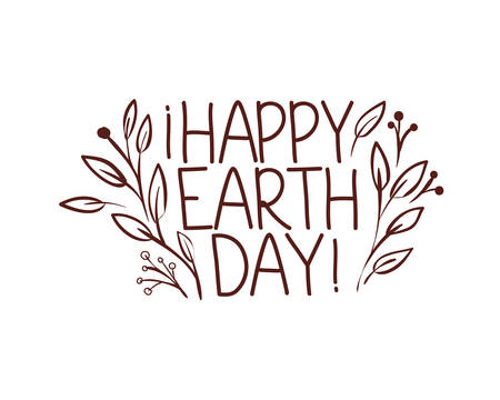 happy earth day label icon vector illustration design 矢量图像
