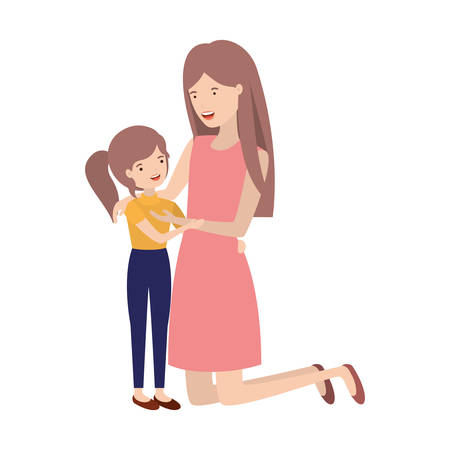 woman with daughter avatar character vector illustration design