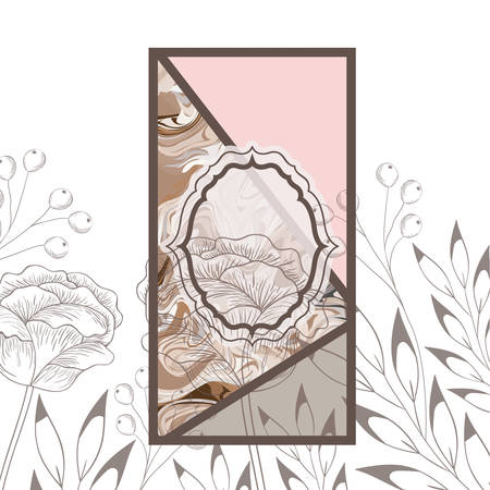victorian with frame and flowers isolated icon vector illustration desing