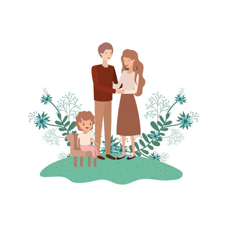 couple of parents with daughter sitting on chair vector illustration design