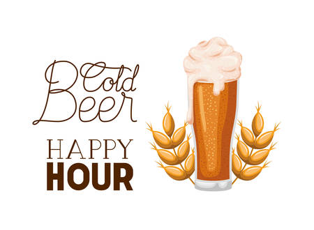 cold beer happy hour label glass vector illustration design