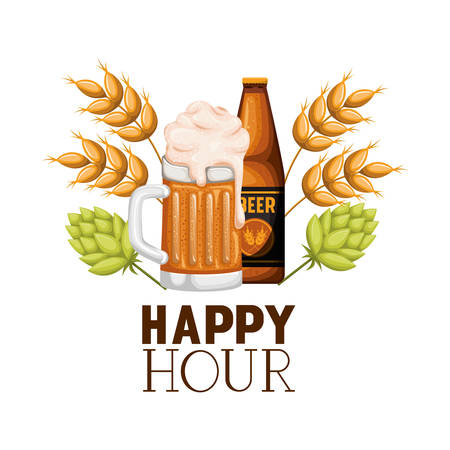 happy hour label with bottle and glass vector illustration design Vecteurs