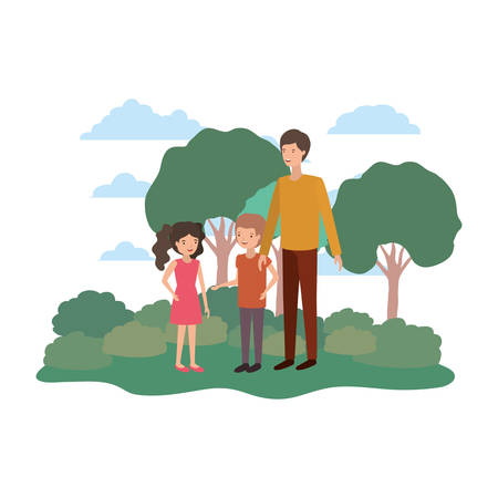 man with children in landscape avatar vector illustration design