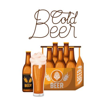etichetta di birra fredda con scatola e bottiglie di birra illustrazione vettoriale desing Vettoriali
