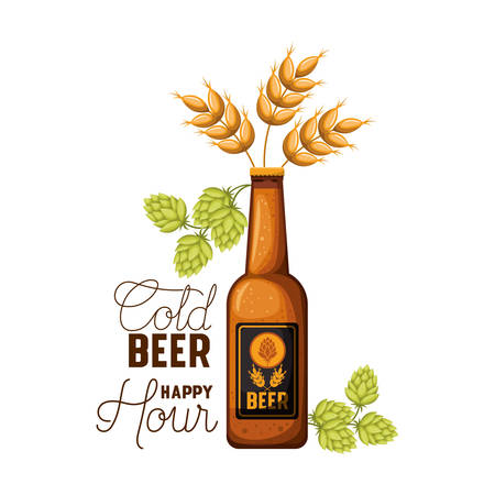 cold beer happy hour label with bottle icon vector illustration design