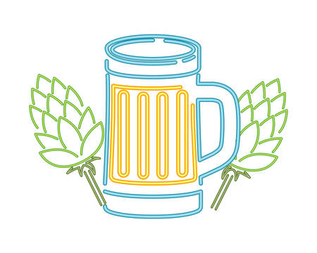 glass with beer in neon light icon vector illustration desing Illustration