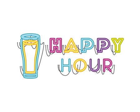 happy hour label in neon light icon vector illustration design