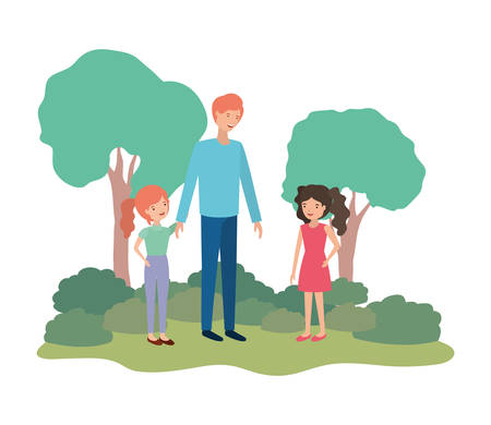 man with children in landscape avatar vector illustration design
