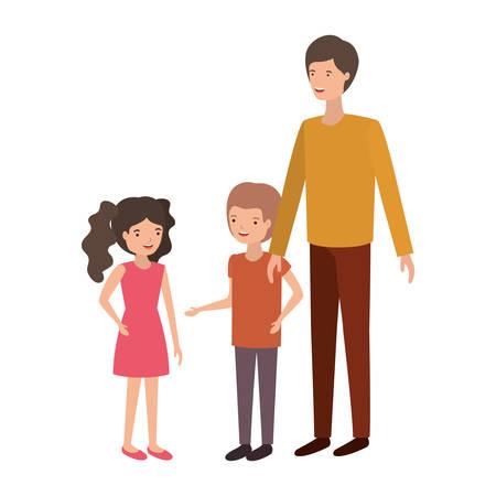 man with children avatar character vector illustration design