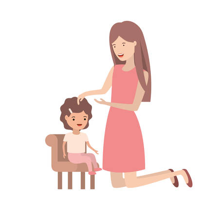 woman with baby sitting on chair avatar character vector illustration design Illustration