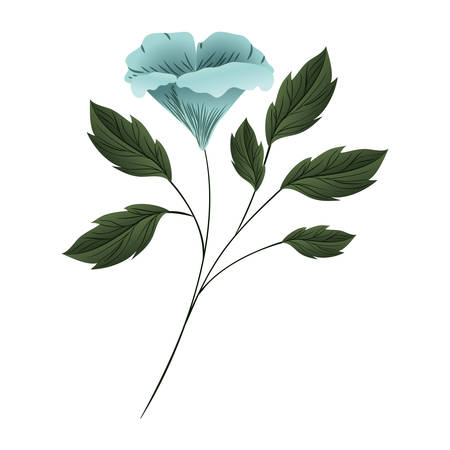 beautiful flower with leafs isolated icon vector illustration design