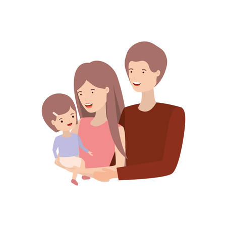 couple of parents with daughter avatar charactar vector illustration design