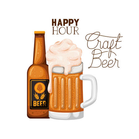 happy hour craft beer label with bottle icon vector illustration design Illustration