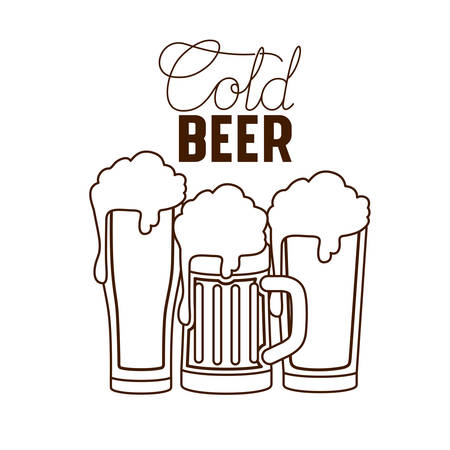 cold beer label isolated icon vector illustration desing Ilustrace