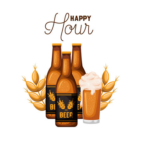 happy hour label with bottle and glass vector illustration design