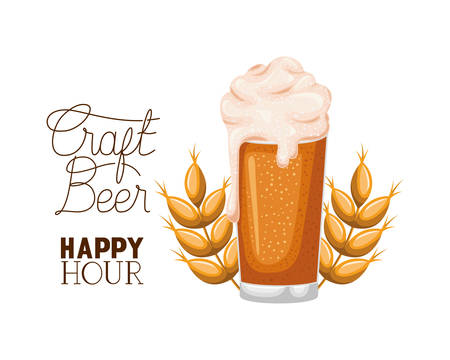 craft beer happy hour label glass vector illustration design Illustration