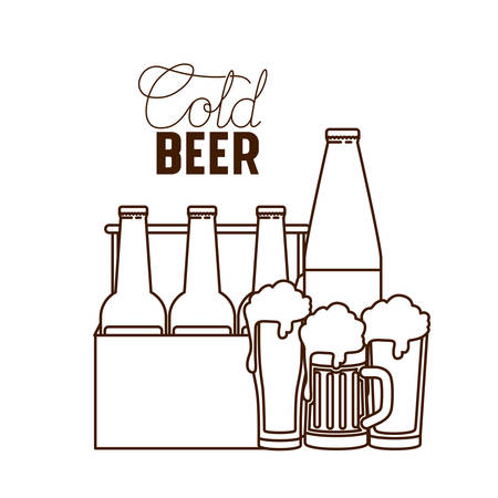 cold beer label isolated icon vector illustration desing