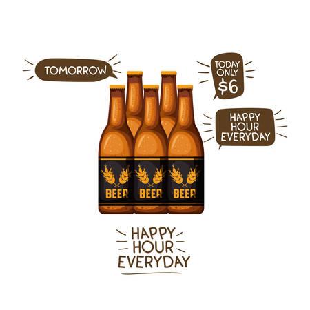 Flasche Bier isoliert Symbol Vektor Illustration Design