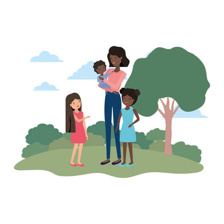 woman with children in landscape avatar vector illustration design