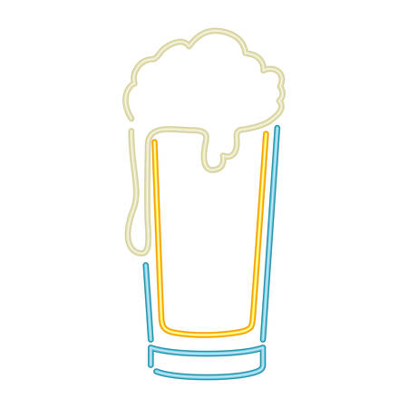 glass with beer in neon light icon vector illustration desing 向量圖像