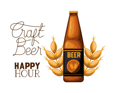 craft beer happy hour label with bottle icon vector illustration design