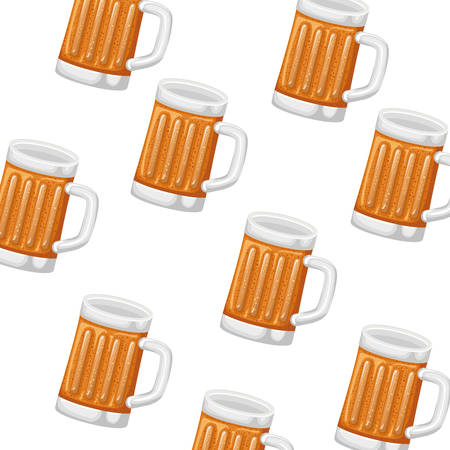 pattern of glass with beer icon vector illustration desing