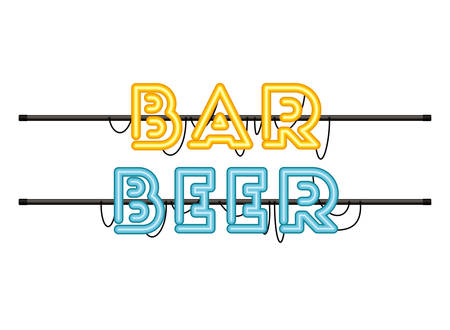 bar beer label in neon light isolated icon vector illustration design 向量圖像