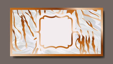 rectangle golden with victorian frame marble texture vector illustration design