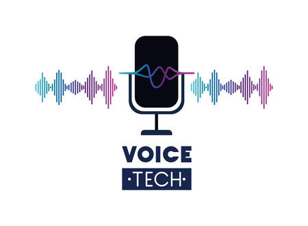 voice tech label with microphone and sound wave vector illustration design Vectores