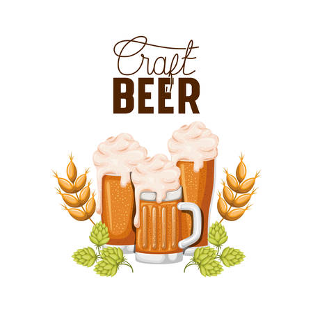 craft beer label glass and wheat vector illustration design