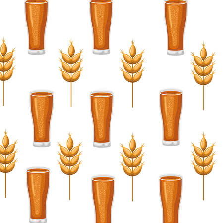 pattern beer with foam and wheat icon vector illustration desing Banco de Imagens - 120021633