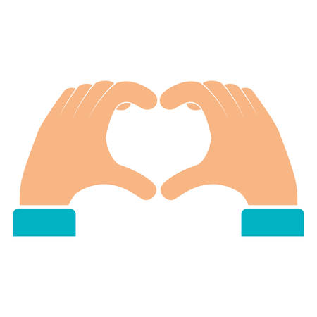 hands forming a heart vector illustration design