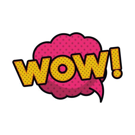 wow comic words in speech bubble isolated icon vector illustration design Stock Illustratie