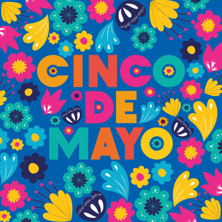 Cinco de Mayo卡片与花卉图案矢量图设计