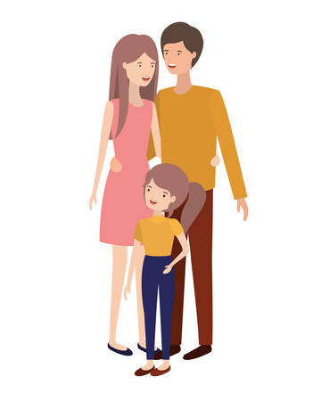 parents couple with daughter avatar vector illustration design
