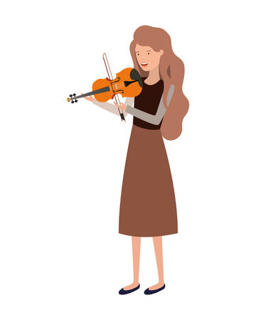 young woman with violin character vector illustration design Vettoriali