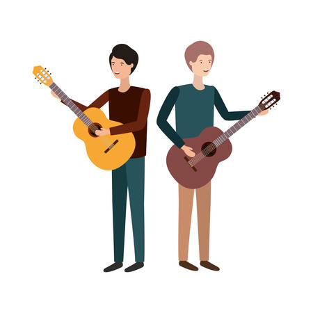 men with musical instruments character vector illustration design
