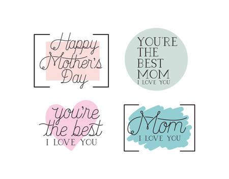愉快的母亲节卡片设置了书法消息传染媒介例证设计