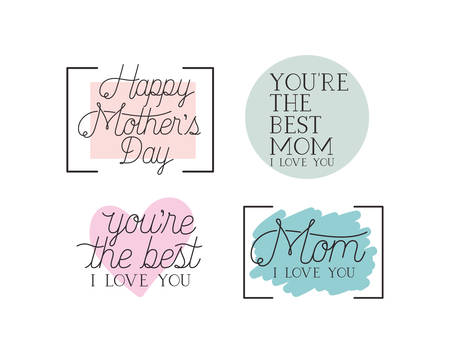 happy mothers day card set calligraphy messages vector illustration design
