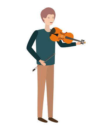 young man with violin character vector illustration design