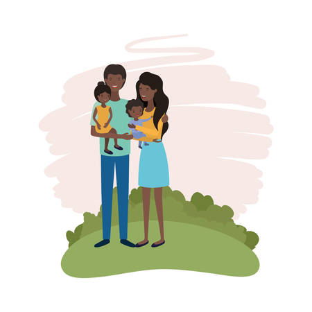 couple of parents with children avatar character vector illustration design